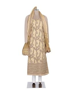 Beige Chikankari Suit Piece Set With Bold Floral Motifs - Ada