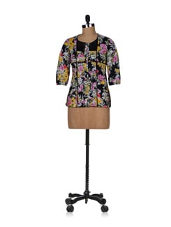 Floral Black Top - NOI