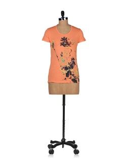 Bird Print Top In Orange - NOI