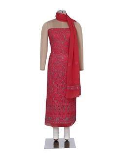 Carrot Pink Chikankari Dress Material - Ada