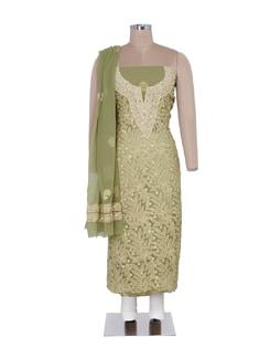 Pista Green Embellished Suit Piece - Ada