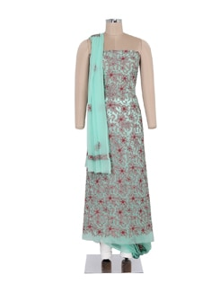 Mint Green Embroidered Suit Piece Set - Ada