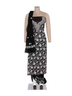 Classic Black And White Chikankari Suit Piece - Ada