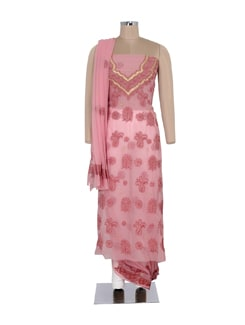 Dusty Pink Embroidered Suit Piece Set - Ada
