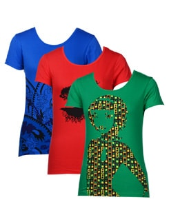 Graphic Print Tees-pack Of 3 - STYLE QUOTIENT BY NOI