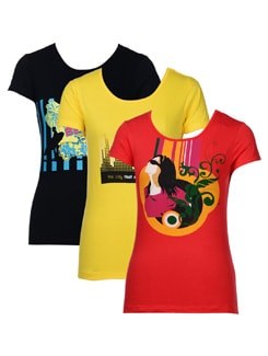 Summer Prints-pack Of 3 T-shirts - STYLE QUOTIENT BY NOI