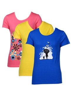 Basic Graphic Print T-shirts-pack Of 3 - STYLE QUOTIENT BY NOI