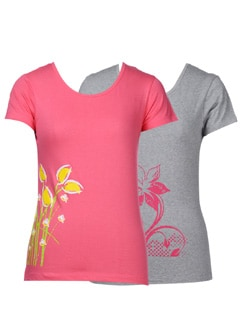 Floral tees-Pack of 2 - STYLE QUOTIENT BY NOI