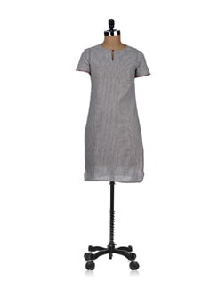 casual grey striped kurta - ABHISHTI