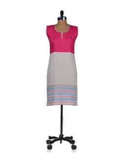 Breezy White And Pink Kurta - ABHISHTI