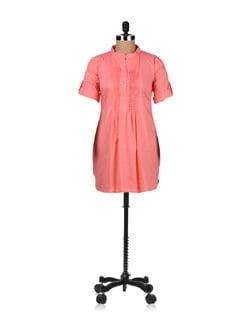 Trendy Peach Pleated Tunic - ABHISHTI