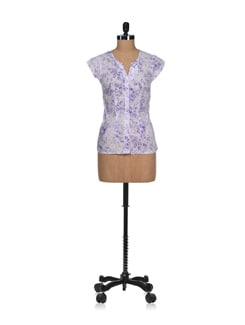 Purple Lace Print Top - Osia Italia