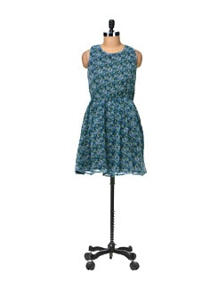 Blue Printed Dress - Besiva