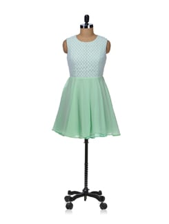 Mint Green Net Dress - Besiva