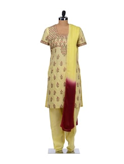 Yellow Embroidered Floral Suit - Vedanta