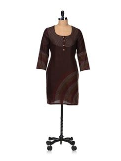 Elegant Brown Embroidered Kurta - Vedanta