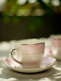 Baby Pink And Gold Cup And Saucer Set Of 6 - Bharat Pottery