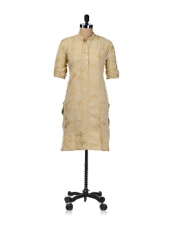 Embroidered Kurta- Beige - SHREE
