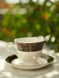 Black And Gold Striped Cup And Saucer Set Of 6 - Bharat Pottery