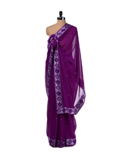 Purple Phulkari Work Saree - Aas