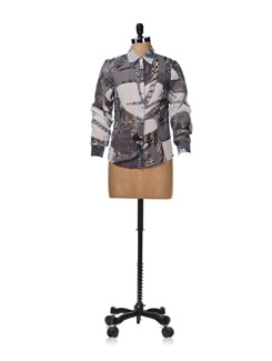 Printed Grey Sheer Shirt - Aamod