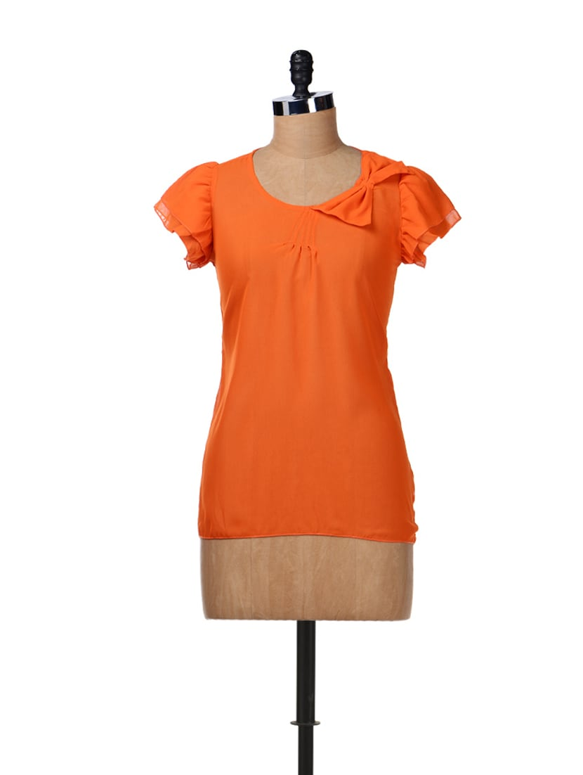 Feminine Orange Bow Top - Aamod