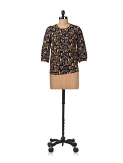 Floral Navy Blue Front Bow Top - Aamod