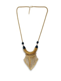 Gold Metal Fringe Tribal Necklace - THE PARI
