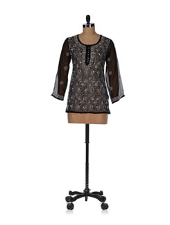 Sheer Black Embroidered Kurti - Vandeymatram