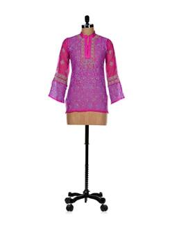 Ethnic Purple-pink Embroidered Kurti - Vandeymatram