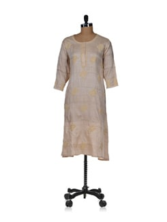 Embroidered Ethnic Beige Kurta - Vandeymatram 19955