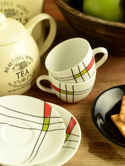 Printed Cup And Saucer Set Of 6 - Clay Craft