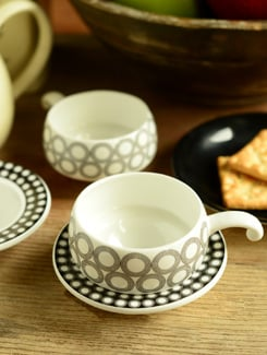 Elegant Cup And Saucer- Set Of 6 - Clay Craft