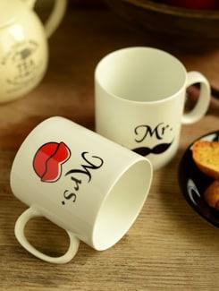 Mr And Mrs -mug Set Of 2 - Clay Craft