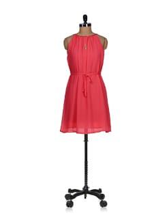 Embellished Dark Pink Sundress - Tops And Tunics