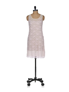Pink Lace Sheath Dress - Tops And Tunics