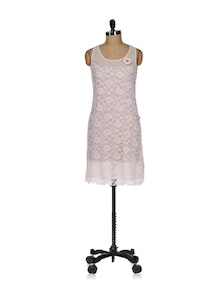 Pink Lace Sheath Dress - Tops And Tunics