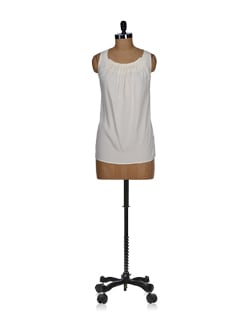 Ivory White Pleated Sheer Top - Tops And Tunics