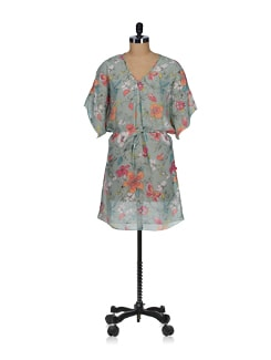 Aquamarine Printed Kaftan Dress - Tops And Tunics