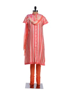 Pink And Orange Open Front Kurta With Churidaar And Dupatta - KILOL