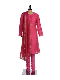 Bangal Cotton Kurta With Churidaar And Dupatta - KILOL