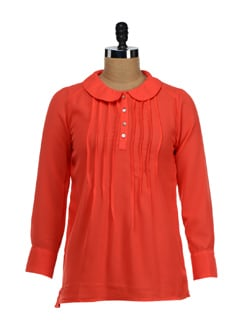 Orange Peter Pan Collar Top - NUN