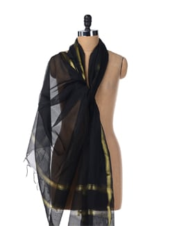 Gold Border Plain Black Dupatta - SONJATO SEN