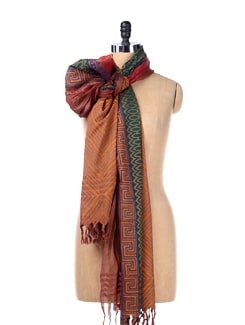 Striped Block Print Dupatta - SONJATO SEN