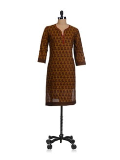 Earthy Yellow Block Printed Kurta - Fami India
