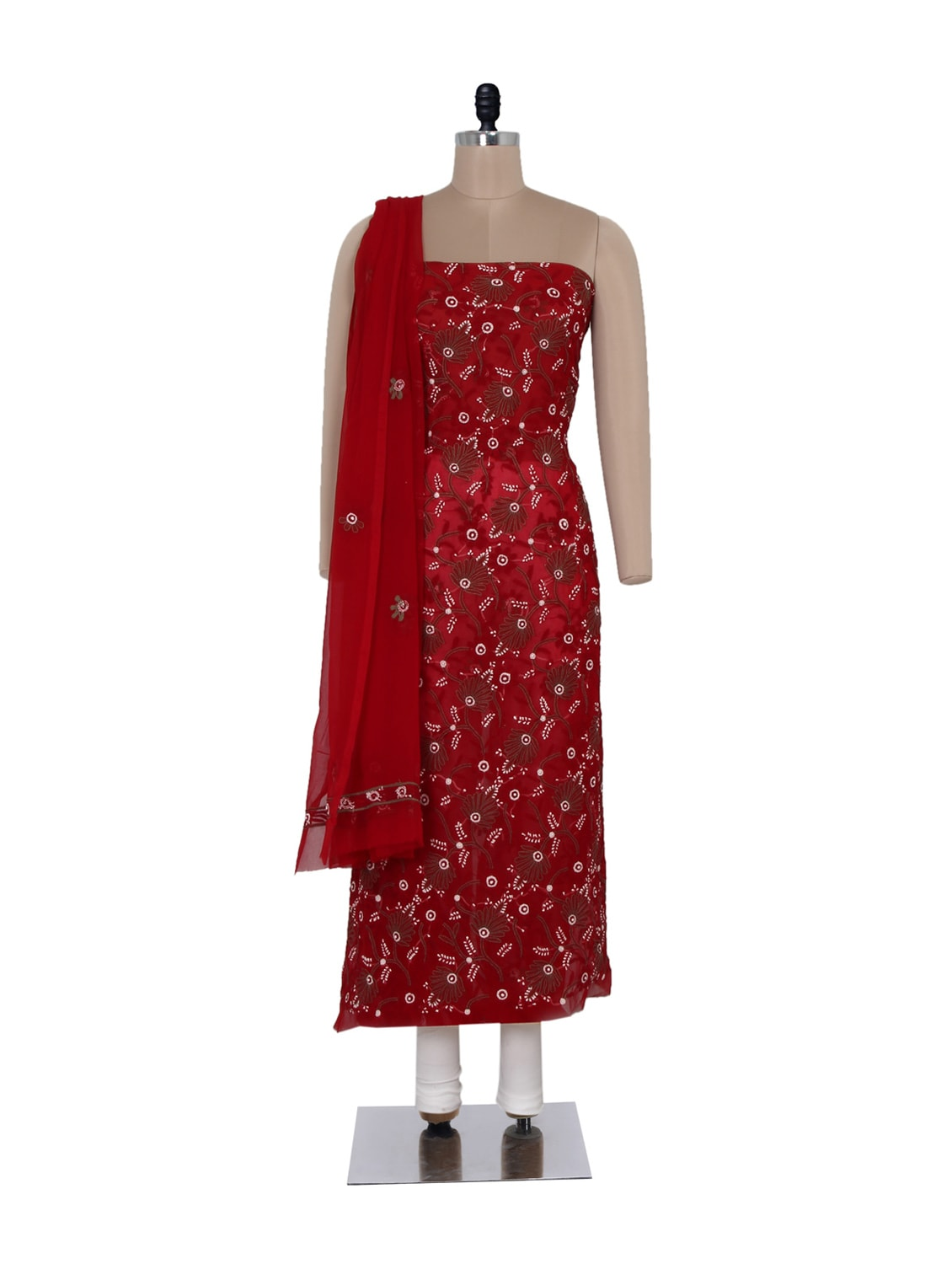 Beautiful Red Unstitched Chikankari Suit - Ada