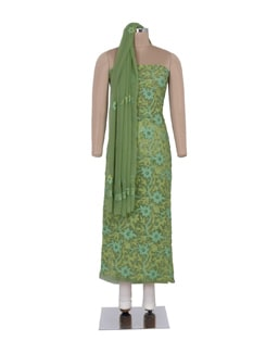 Olive Green Unstitched Chikankari Suit - Ada