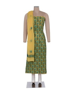 Yellow-Green Unstitched Chikankari Suit - Ada