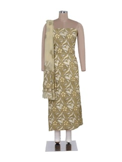 Earthy Green Unstitched Chikankari Suit - Ada