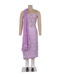 Light Purple Unstitched Chikankari Suit - Ada